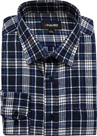 Private Member Camisa de franela de manga larga para hombre, de algodón cepillado, M-6XL