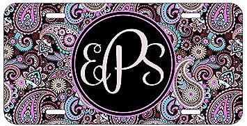 Amazon.com: Personalizado Monogram – matrícula negro púrpura ...