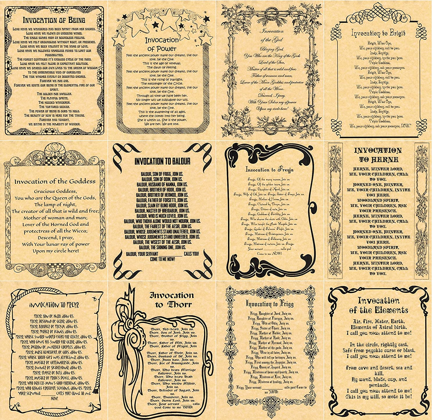 Amazon.com: Book of Shadows Spells Pages, 12 Invocations, Wicca ...