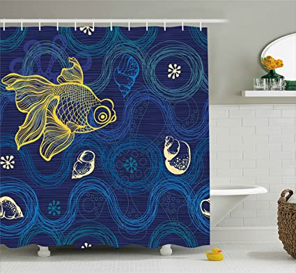 Ambesonne Modern Decor Shower Curtain By, Ocean Sealife Creature Fish Shell  Wavy Flowers Mystic Nature