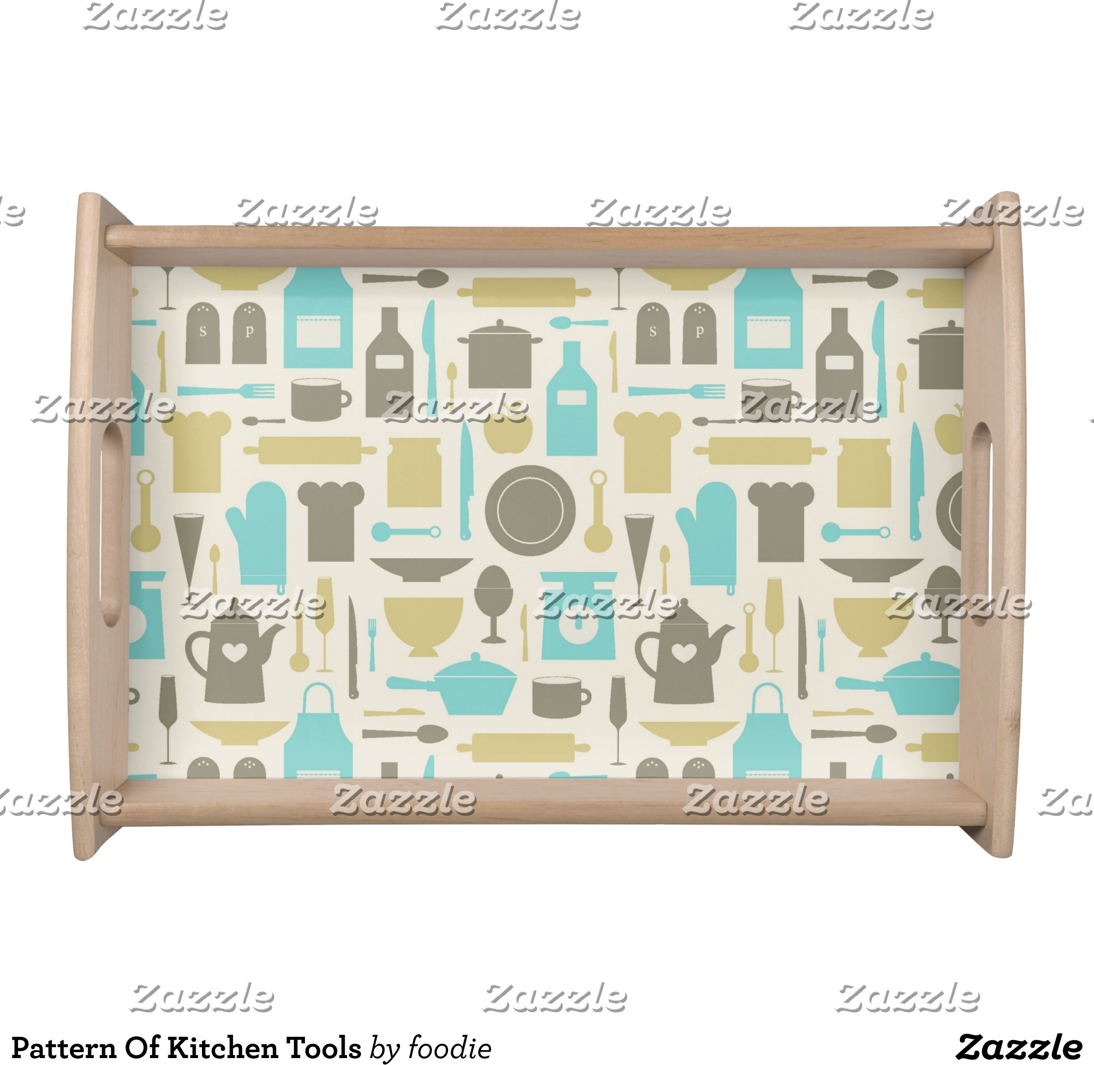 Pattern Of Kitchen Tools Serving Tray | Zazzle