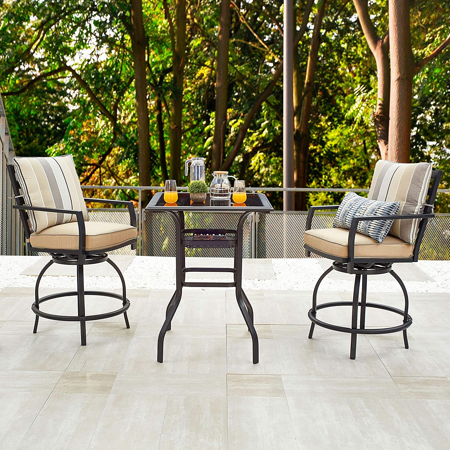 lokatse home patio bar height set with 2 outdoor swivel chairs and 1 high glass top table 3 piece bistro beige