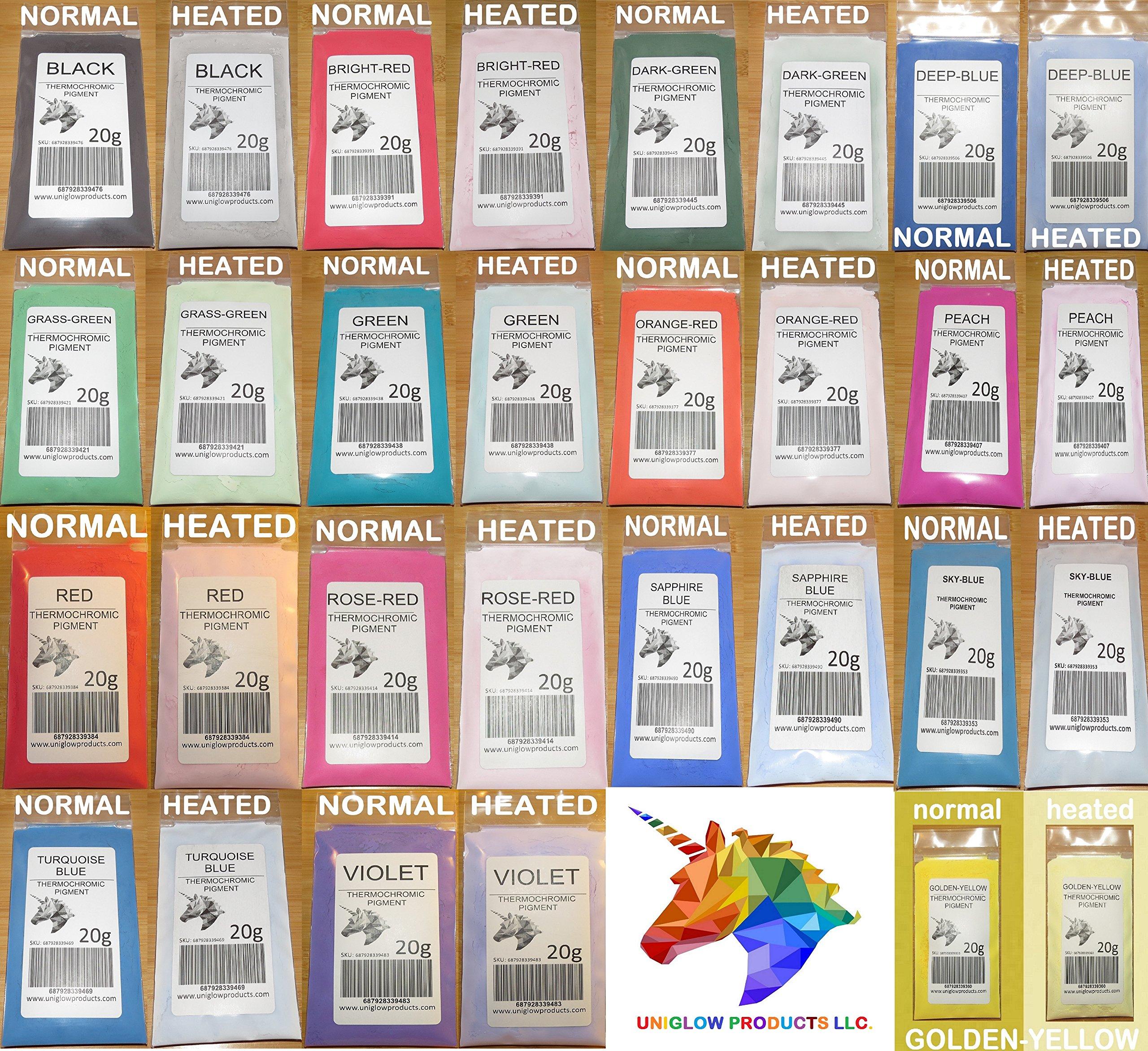 UniGlow's ThermoChromic Pigment (10 X 5g = 50g, Multicolored) by UniGlow Glow ThermoChromatic Pigment