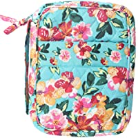DIWI Large Sizes 10 X 7 X 2.75 inches Bible Cover Quilted Good Book Cover Quilted Cotton Fabric Bible Cover Zip Closer Slip Pocket Pink Blue (L, 1804ER Afternoon Garden)