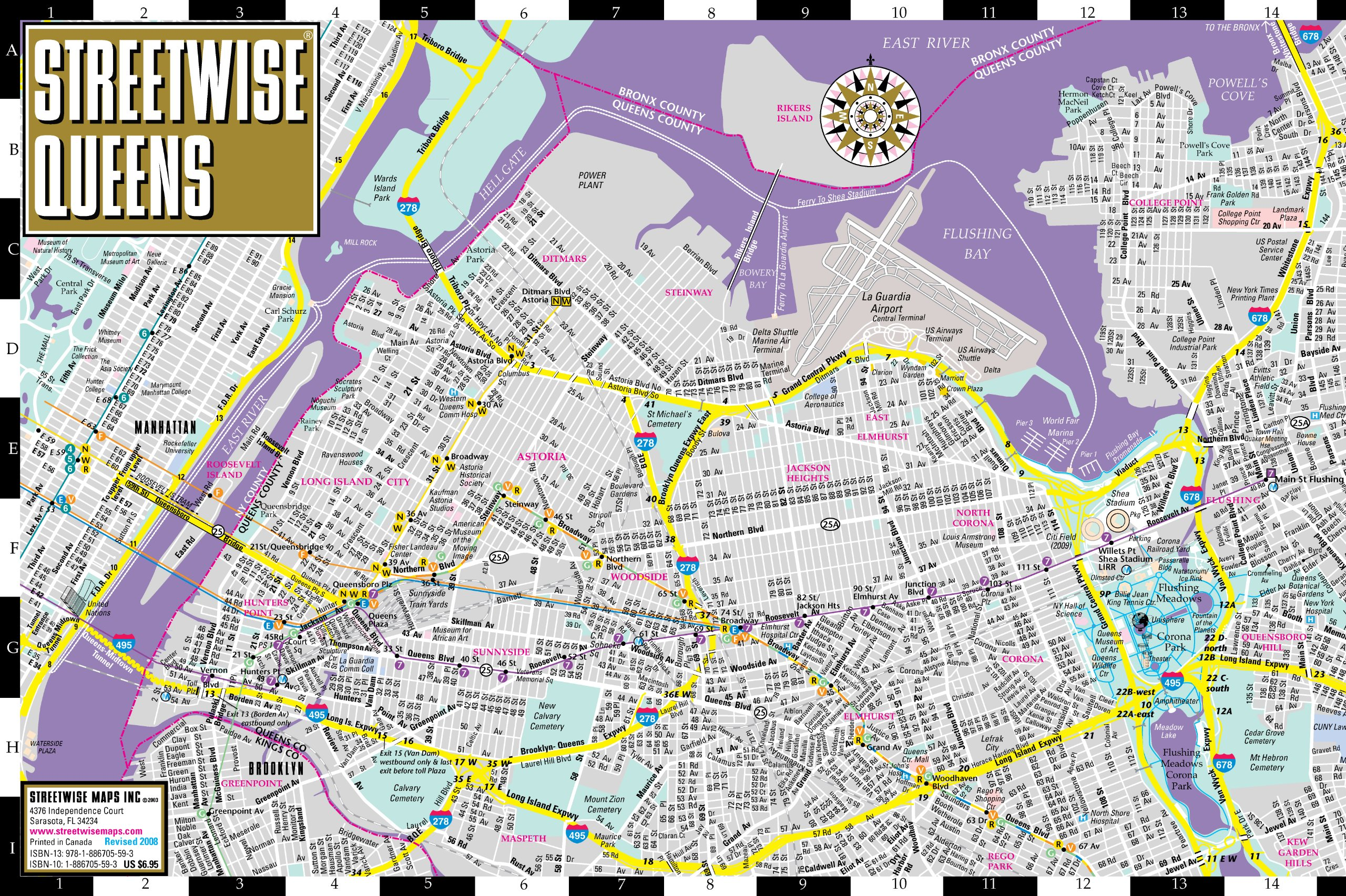 New York Subway Map 2008.Streetwise Queens Map Laminated City Street Map Of Queens New