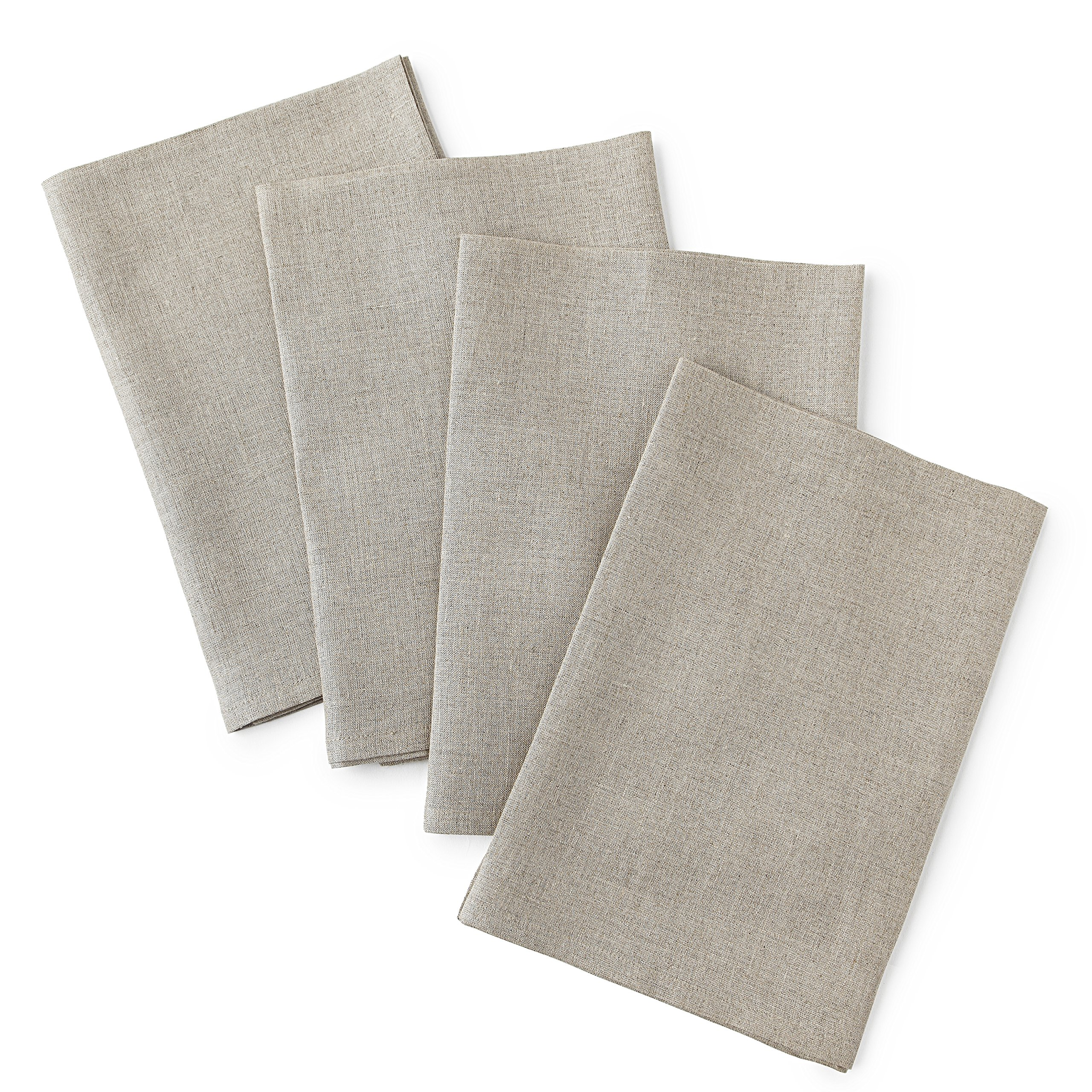 Solino Home Linen Dinner Napkins - 20 x 20 Inch Natural, 4 Pack Linen Napkins, Athena - 100% European Flax, Soft & Handcrafted with Mitered Corners