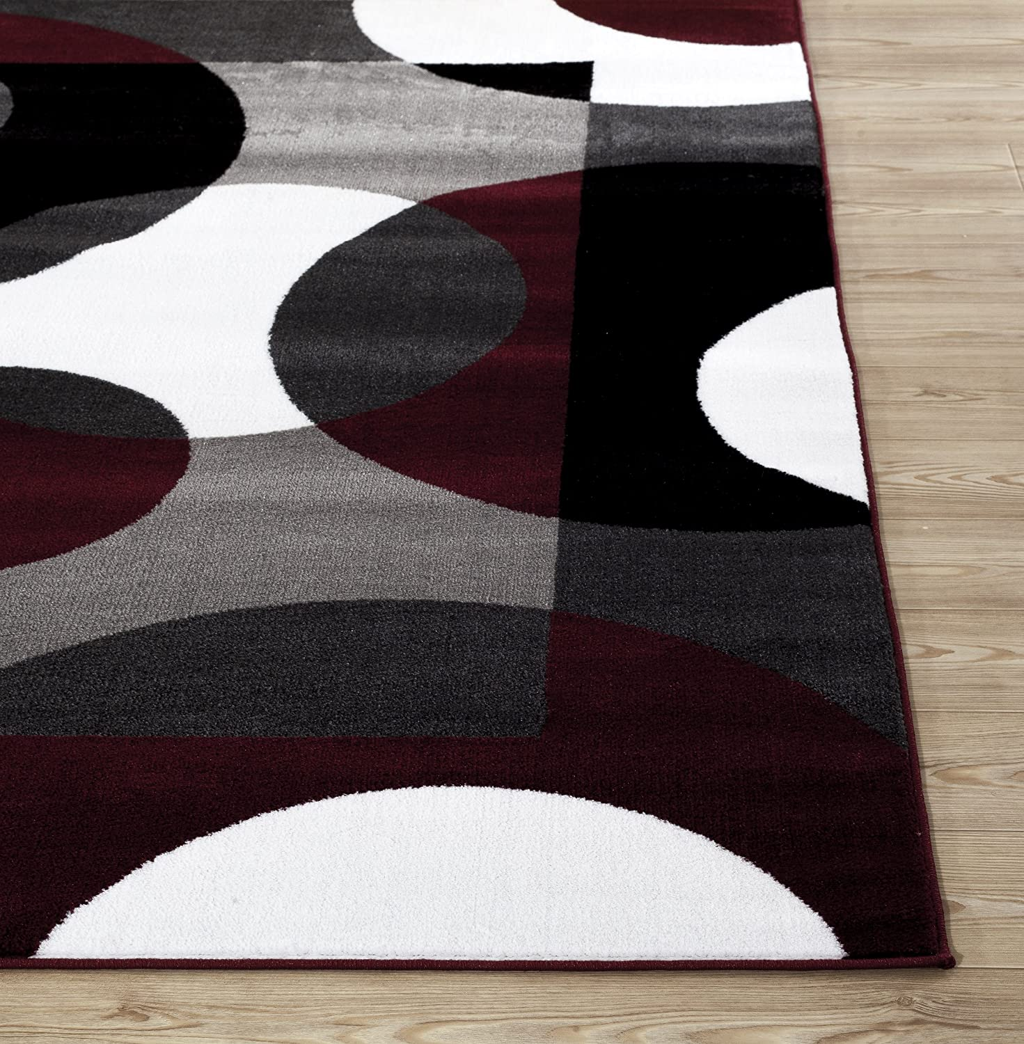 "Amazon Rugshop Modern Circles Area Rug 3 3"" x 5 3"" Burgundy"