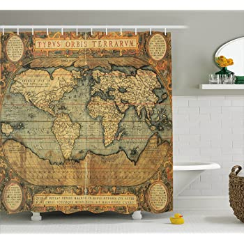 Ambesonne world map shower curtain ancient old chart vintage reproduction 16th - Old world map shower curtain ...