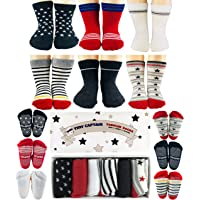 Toddler Boys Socks 1-2 Year Old Baby Boys Anti Slip Grip Sock Gift 8-24 Months Set by Tiny Captain (Red, Black, White)