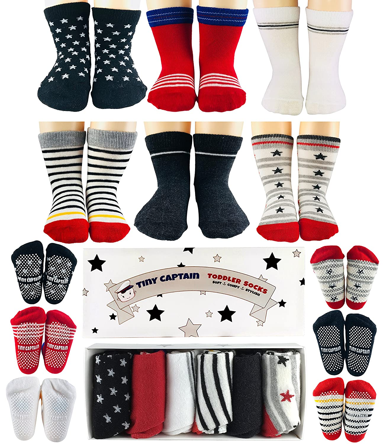 Toddler Boys Socks 1-2 Year Old Baby Boys Anti Slip Grip Sock Gift 8-24 Months Set by Tiny Captain (Red, Black, White)