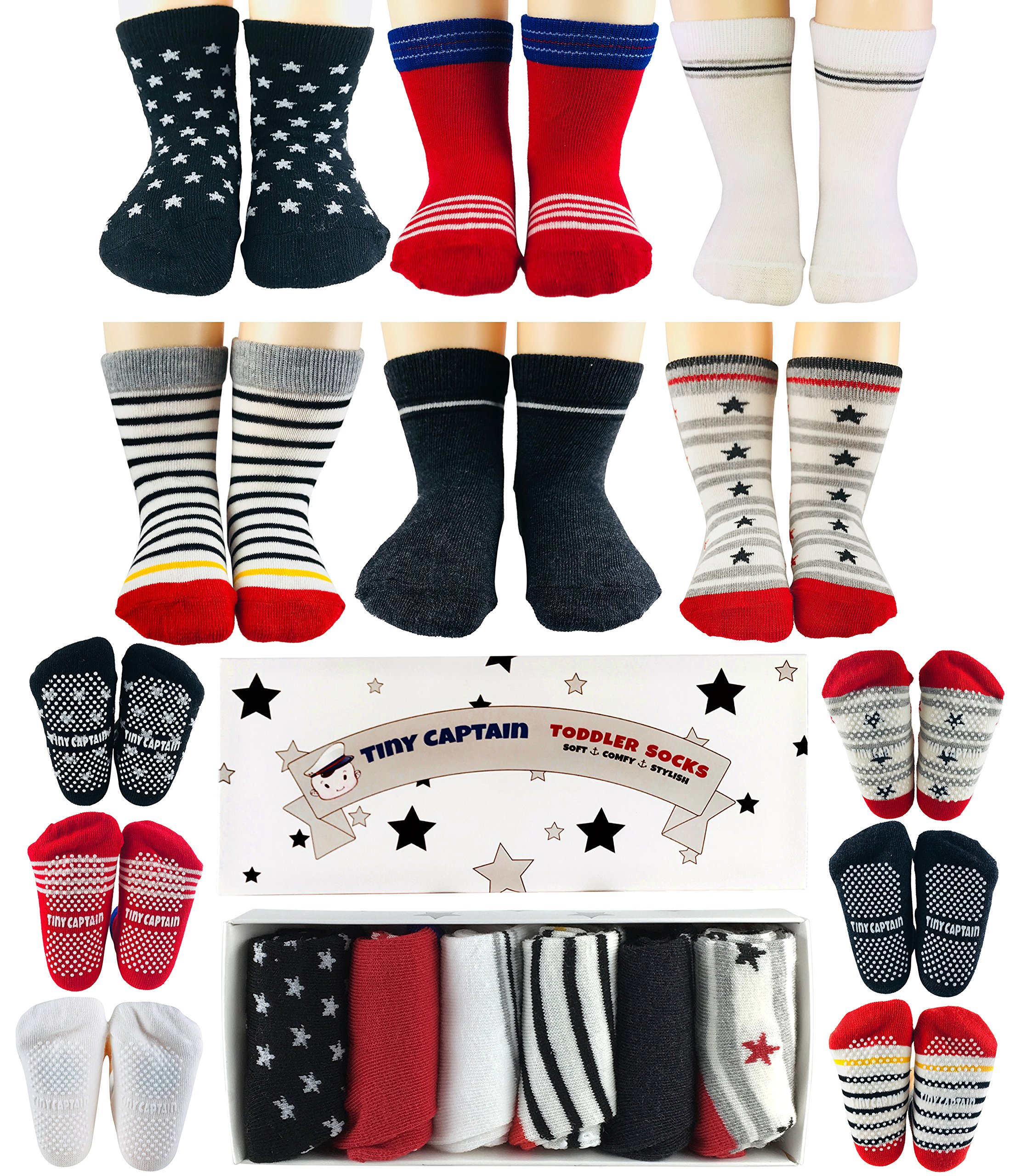 Baby Boy Socks for Toddler 1-2 Year Old Boys Gifts Non Skid Anti Slip Grip Sock Gift 8-24 Months Set by Tiny Captain (Red, Black, White)
