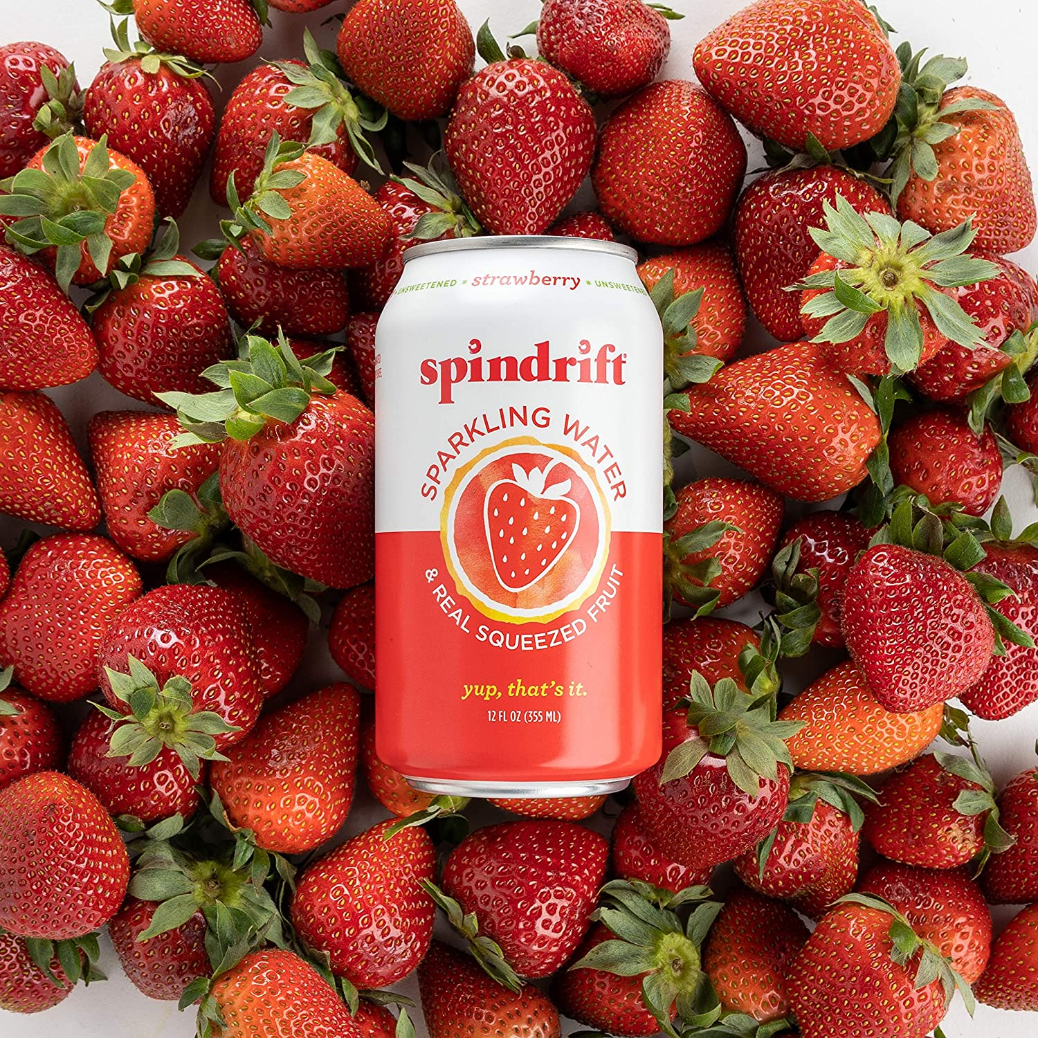 Spindrift Sparkling Water, Strawberry Flavored, Made with Real Squeezed Fruit, 12 Fl Oz Cans, Pack of 24 (Only 9 Calories per Seltzer Water Can)