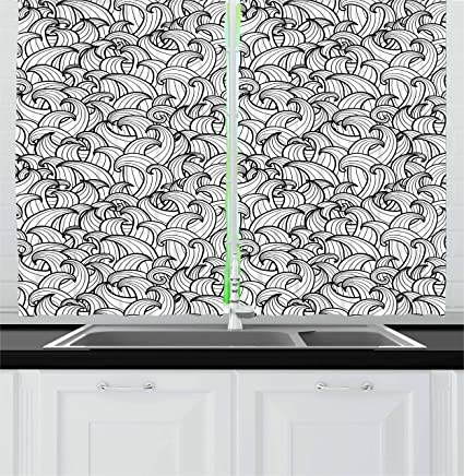 Amazoncom Ambesonne Black And White Kitchen Curtains Abstract Sea