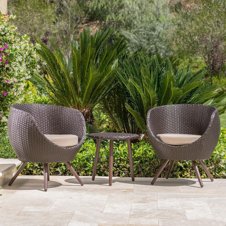 Amazon com gdf studio patio furniture 3 piece outdoor modern wicker conversation chat set garden outdoor