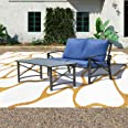 Patio Festival 2 PCS Patio Furniture Set,Metal Outdoor Patio Conversation Sectional, Loveseat with Cushions,Coffee Table for