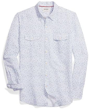 9263833108f00e Goodthreads Men's Slim-Fit Long-Sleeve Linen and Cotton Blend Shirt, Blue  Floral