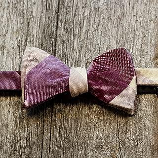 product image for Purple Plaid Canvas Cotton Men's Bow Tie