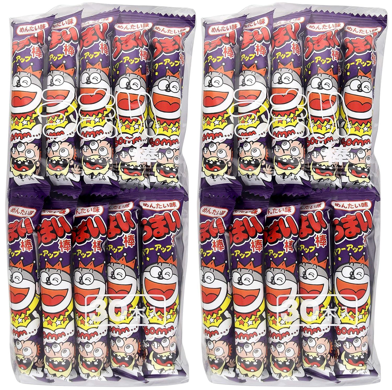 Yaokin Umaibo Corn Puff Snack Mentai Flavor 30 pcs (2 Pack)