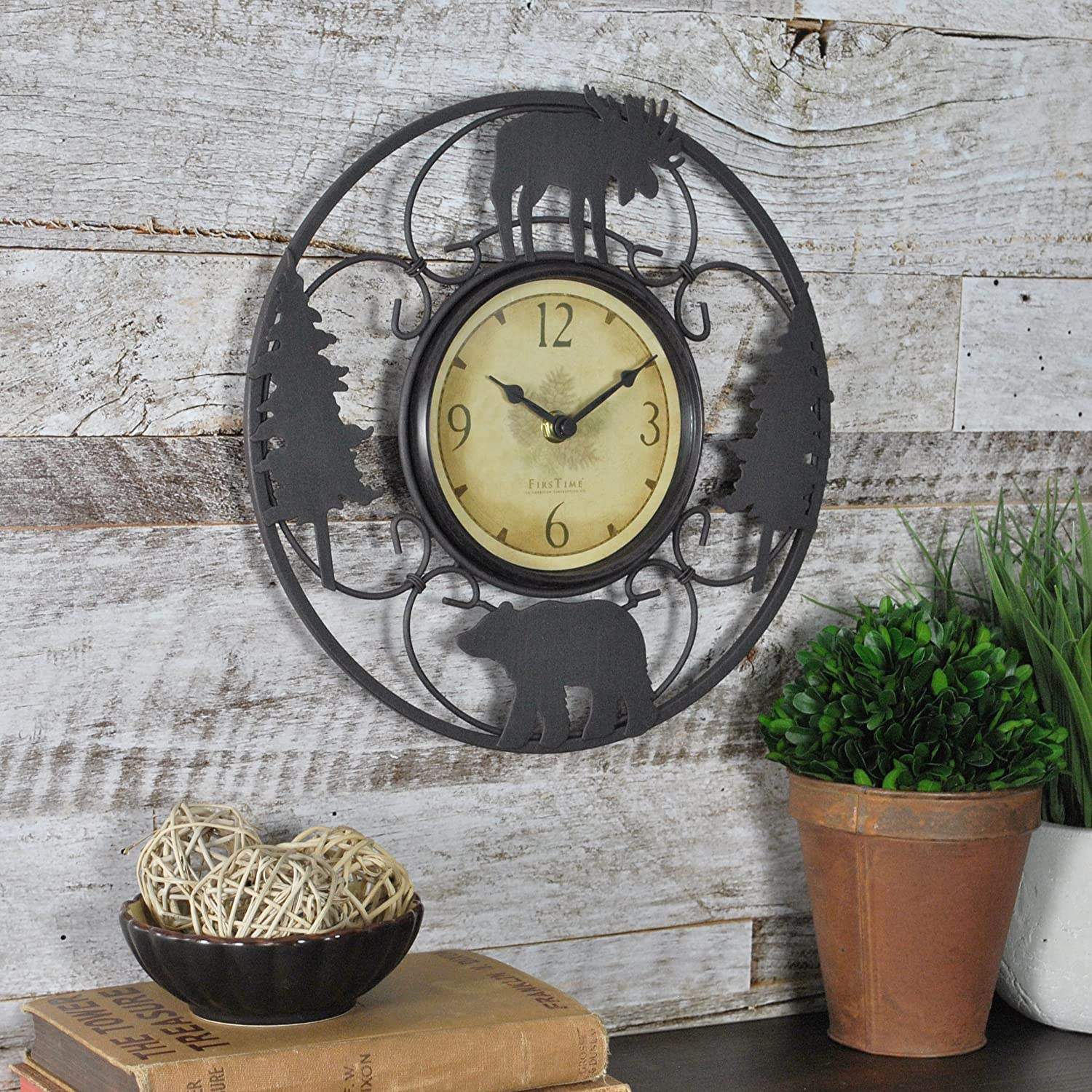 """FirsTime & Co. 55586 Wildlife Wire Wall Clock, 11"""", Brown/Black"""