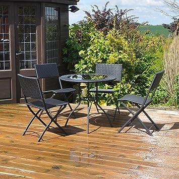 Kingfisher Mesa y sillas, Efecto Ratán, para Jardín, Patio, Comedor ...