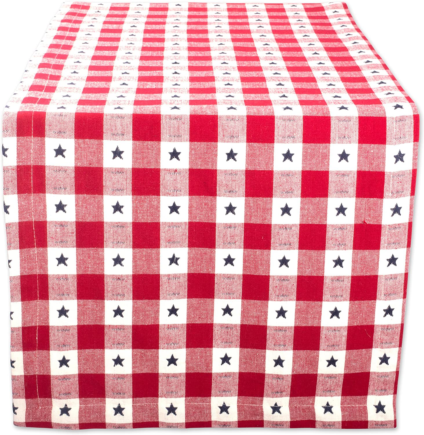 """DII Cotton Table Runner for Independence Day, July 4th Party, Summer BBQ and Outdoor Picnics - 14x72"""", Red White and Blue Star Check"""