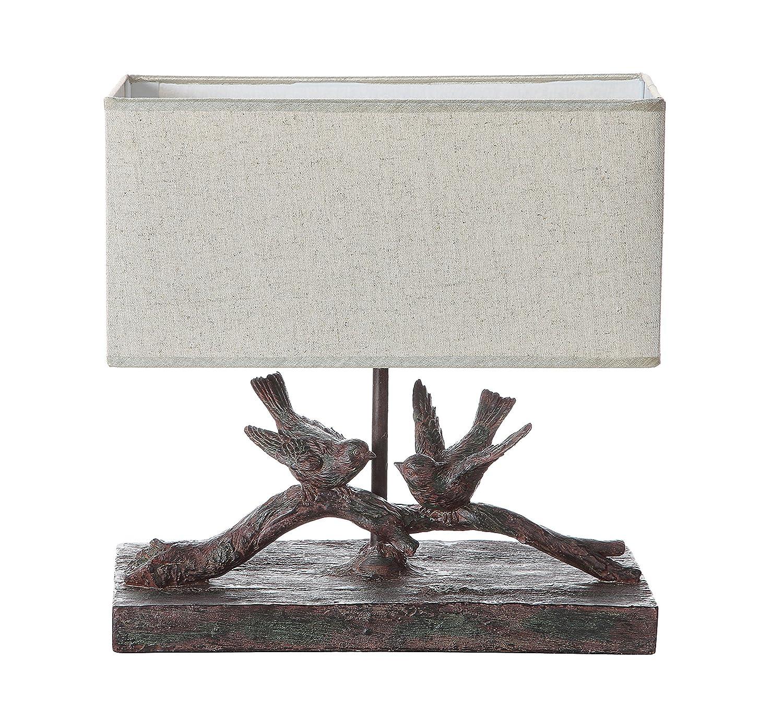 Creative Co-Op DE7675 Rustic Bird Lamp with Rectangle Shade