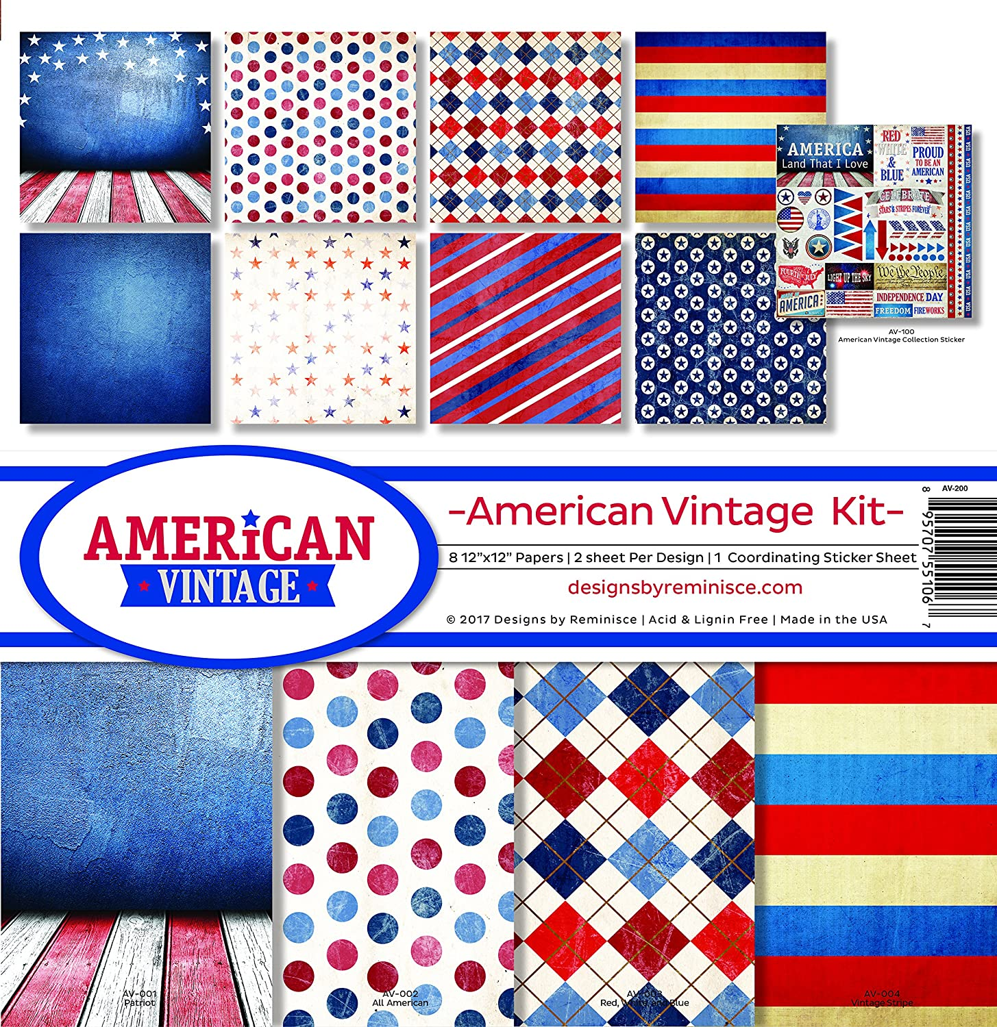 American Vintage 12x12 Scrapbook Papers /& Stickers Set by Reminisce