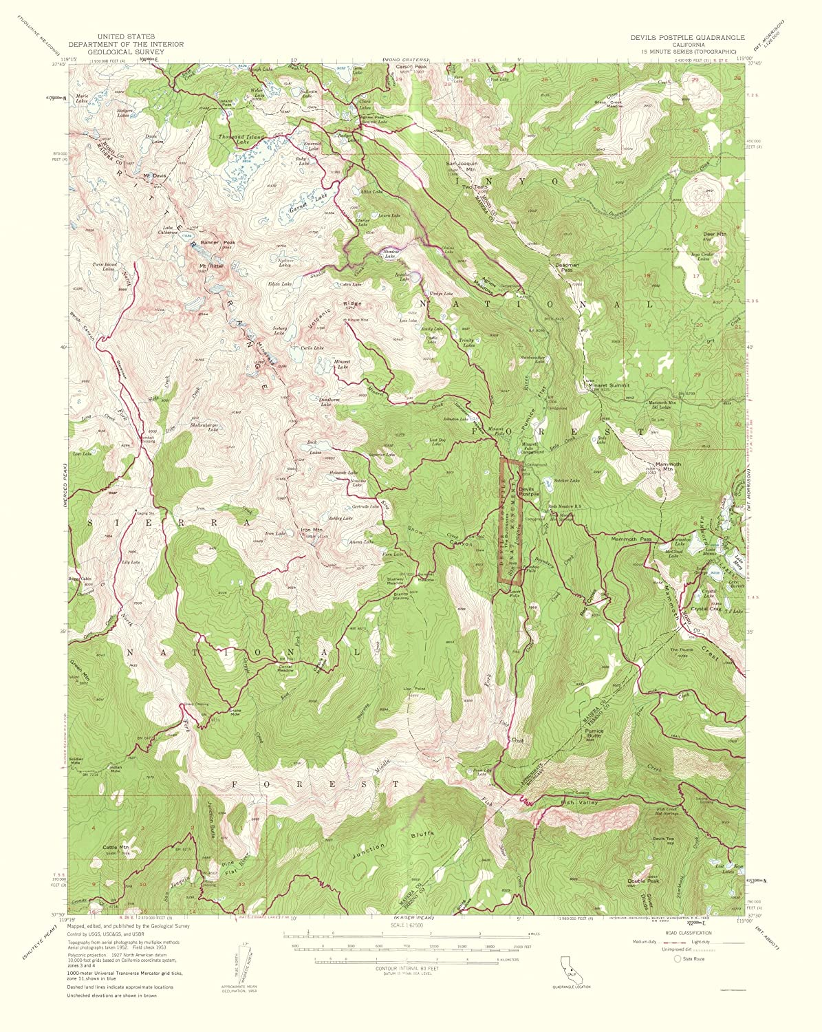 Amazon com: Topographical Map - Devils Postpile California Quad