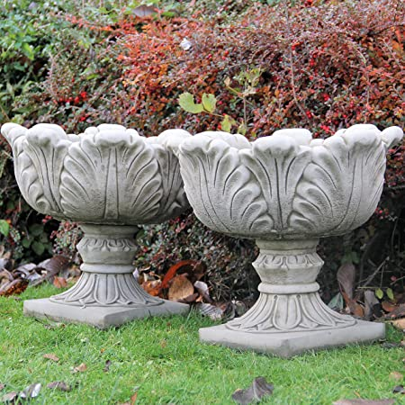 PAIR Large Tulip Vases Flower Pots Planters Cast Stone Garden Ornament Decor