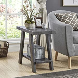 Roundhill Furniture Athens Contemporary Wood Shelf Side Table, Gray