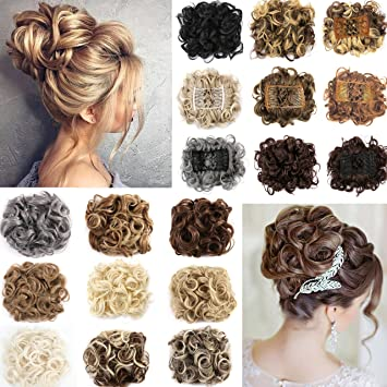 Omg Short Curly Messy Hair Bun Extensions Updo Hairpiece Chignons Hair Piece Easy Stretch Hair