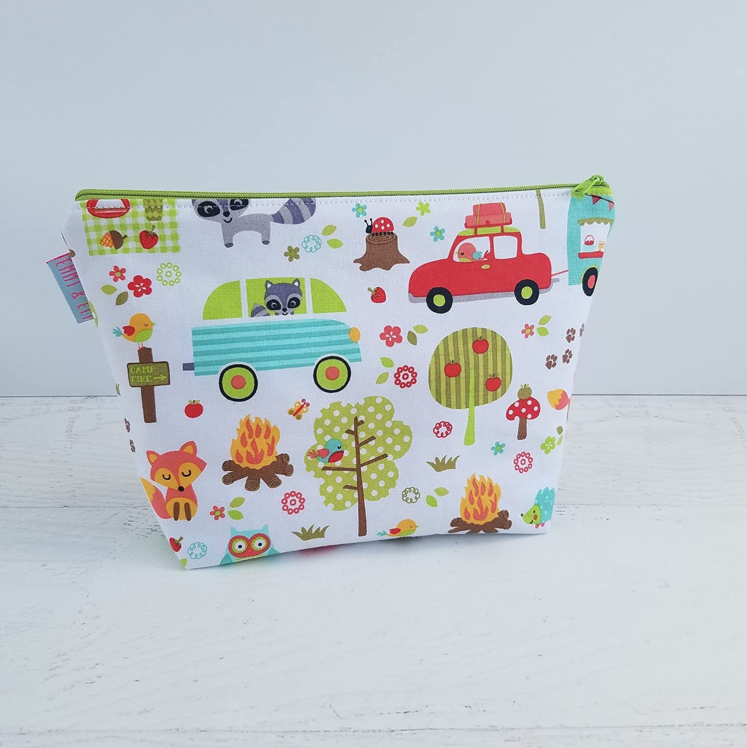 Kids Travel Toiletry Wash Bag Woodland Animals White