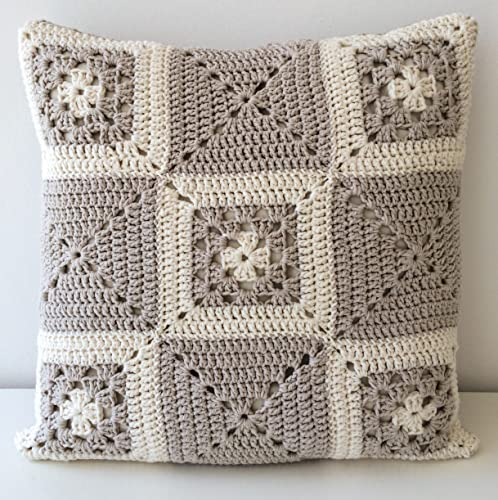 Amazon 16x16 Neutral Granny Square Crochet Pillow Cover Handmade