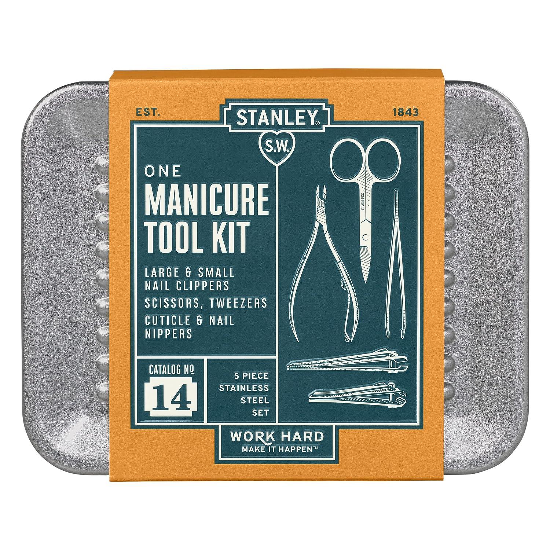 Amazon.com | Stanley Manicure Set in Tin, 5 Piece, Gray | Travel ...