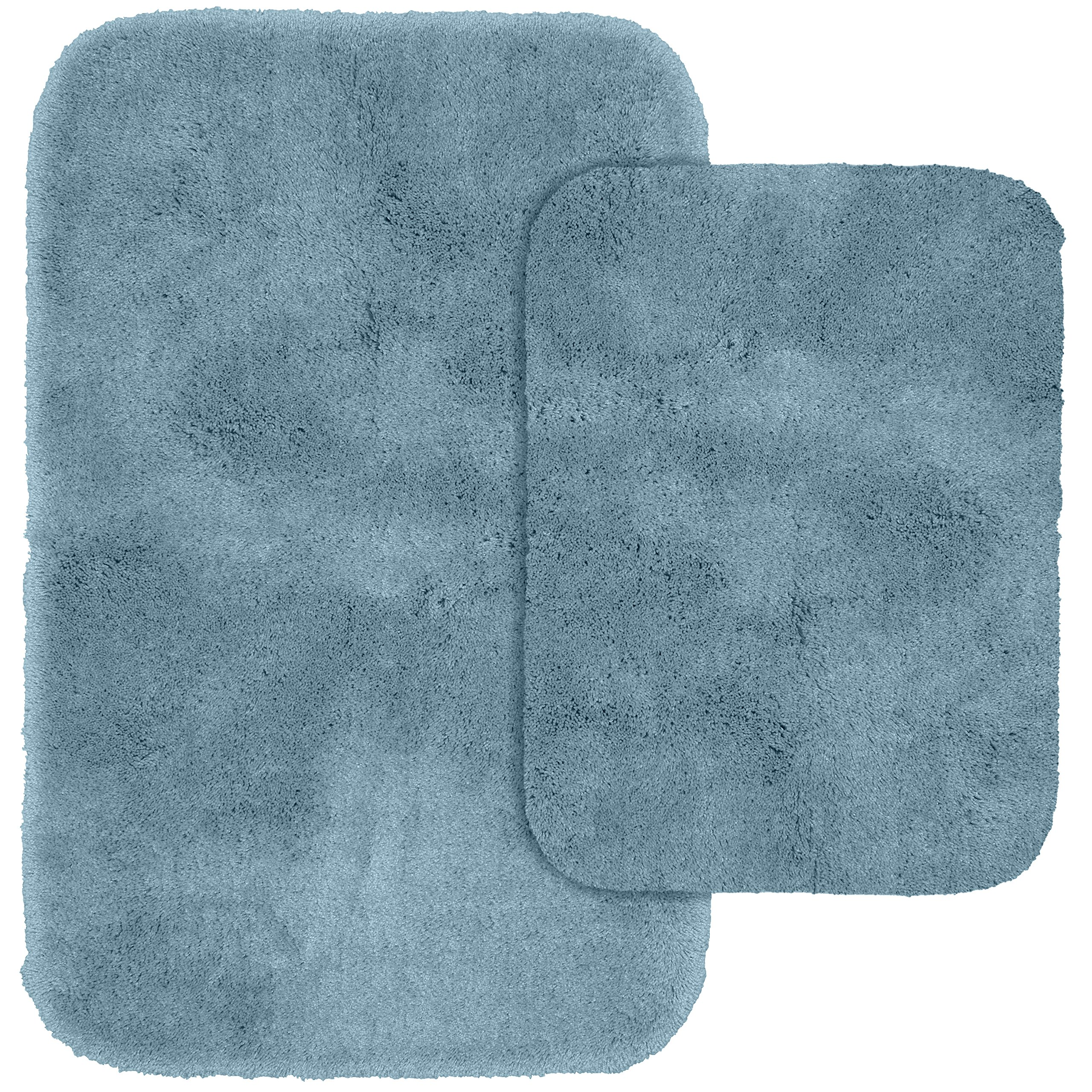 Garland Rug 2-Piece Finest Luxury Ultra Plush Washable Nylon Bathroom Rug Set, Basin Blue