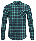 NUTEXROL Mens Long Sleeve Plaid Flannel Casual