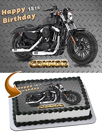 Beau Harley Davidson Sportster Edible Image Cake Topper Personalized Birthday  1/4 Sheet Decoration Custom