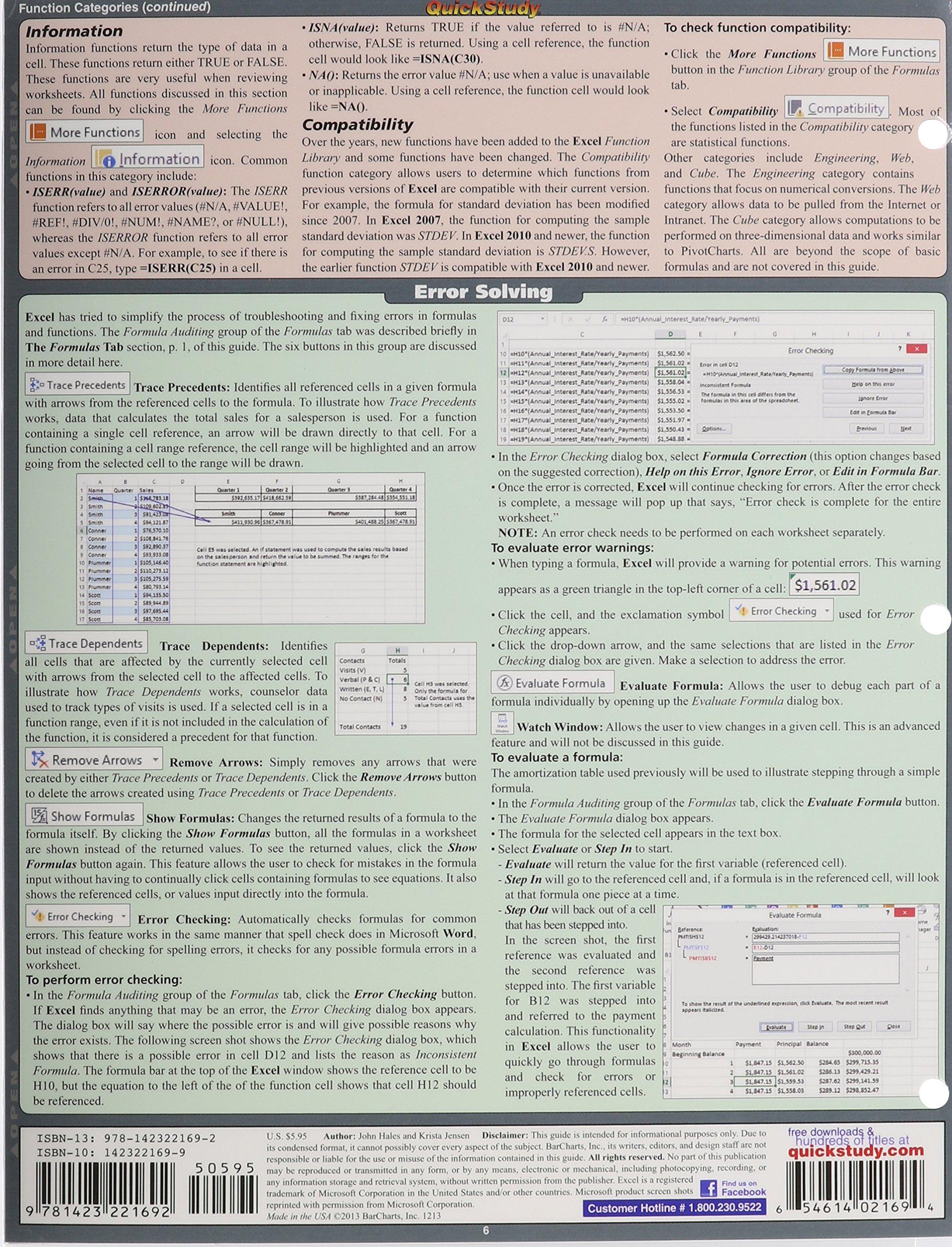 Buy Excel Formulas Quick Study Computer Book Online at Low ...