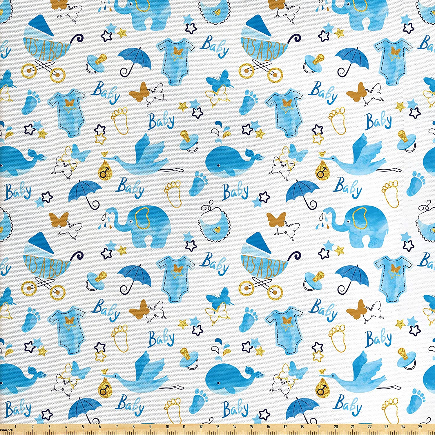 Ambesonne Baby Fabric by The Yard, Its a Boy Stork Carrying a Baby Elephants Clothes Butterflies Print, Decorative Fabric for Upholstery and Home Accents, Blue Amber Black
