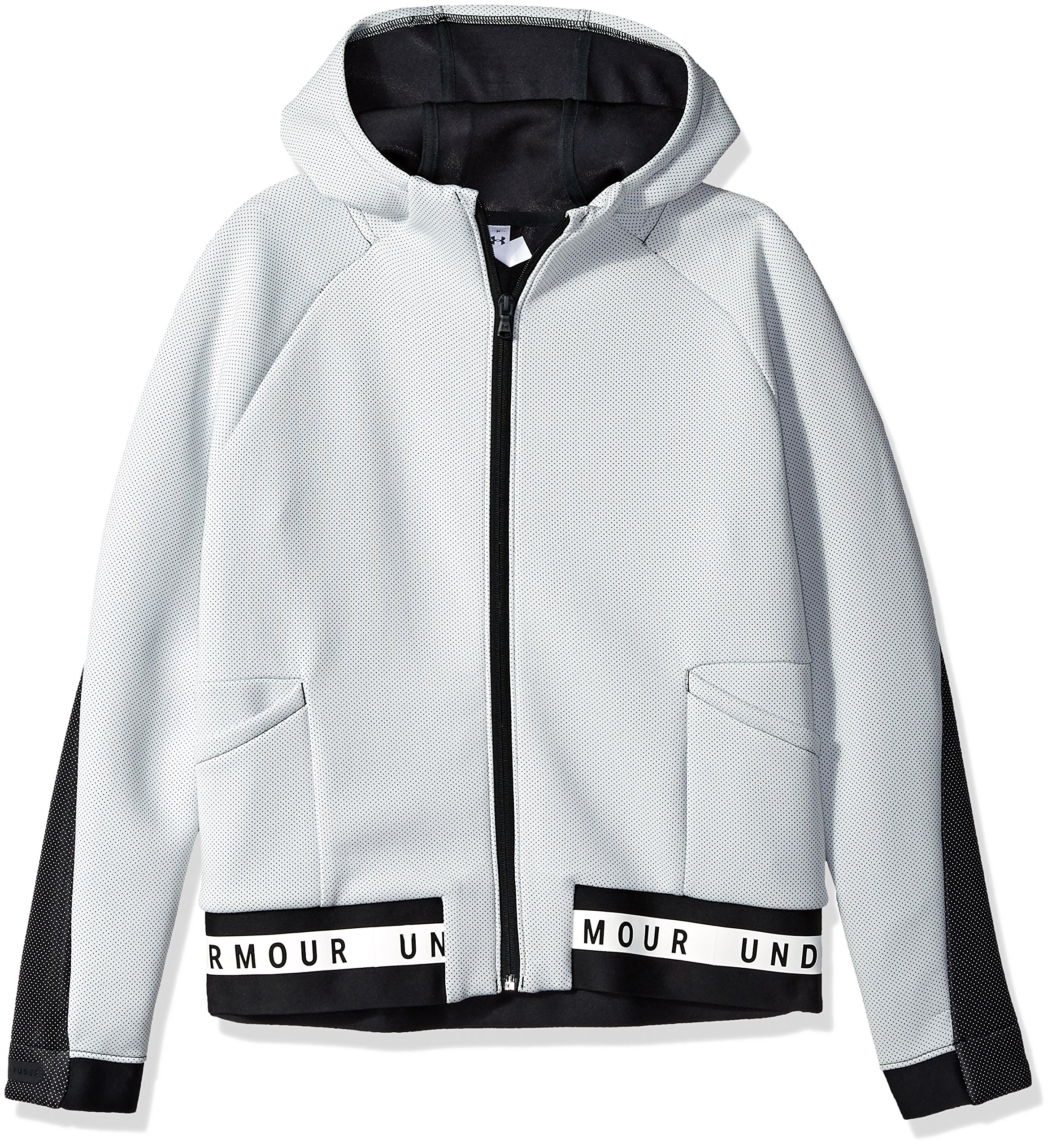 Under Armour Girls Move Full Zip, White (100)/Black, Youth X-Small by Under Armour
