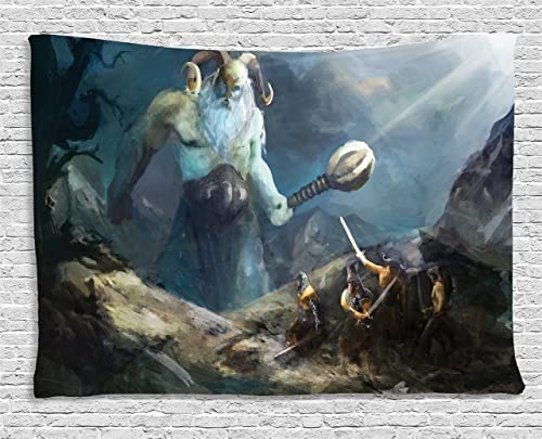 Lunarable Viking Tapestry, Heroes of Valhalla with Mythological Frost Giant Norse Culture Watercolor Design, Wide Wall Hanging for Bedroom Living Room Dorm, 60 X 40 , Multicolor
