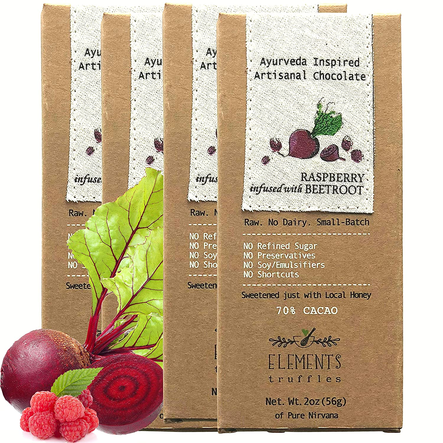 Elements Truffles Raspberry Bar with Beetroot Infusion - Dairy Free Chocolate Bar - Paleo, Gluten Free, Non-GMO, Raw & Organic Chocolate Bar - ...