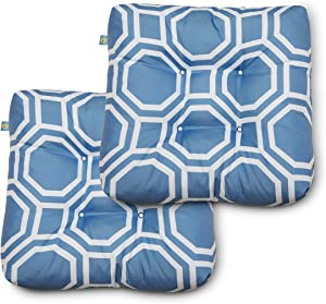 Duck Covers Water-Resistant 19 x 19 x 5 Inch Indoor Outdoor Seat Cushions, Periwinkle Blue Hexagon, 2-Pack