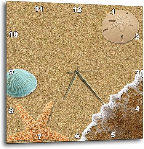 3dRose dpp_172139_2 Sandy Beach with Shells-Wall Clock, 13 by 13-Inch