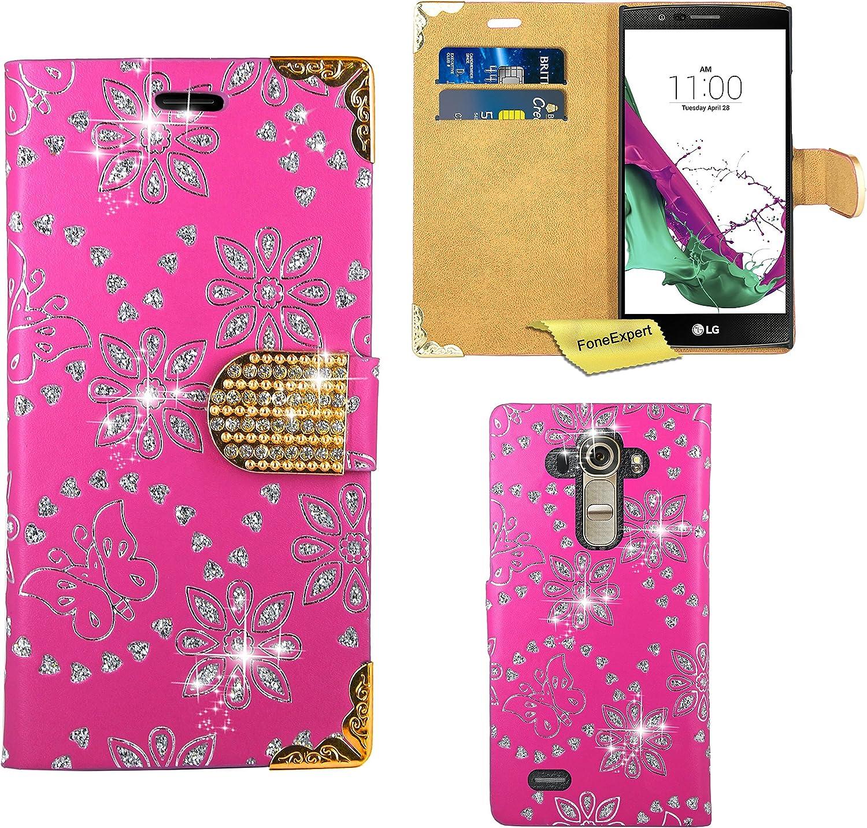 FoneExpert/® Bling Luxus Diamant H/ülle Wallet Case Cover H/üllen Etui Ledertasche Premium Lederh/ülle Schutzh/ülle f/ür LG G4 Rosa LG G4 Handy Tasche