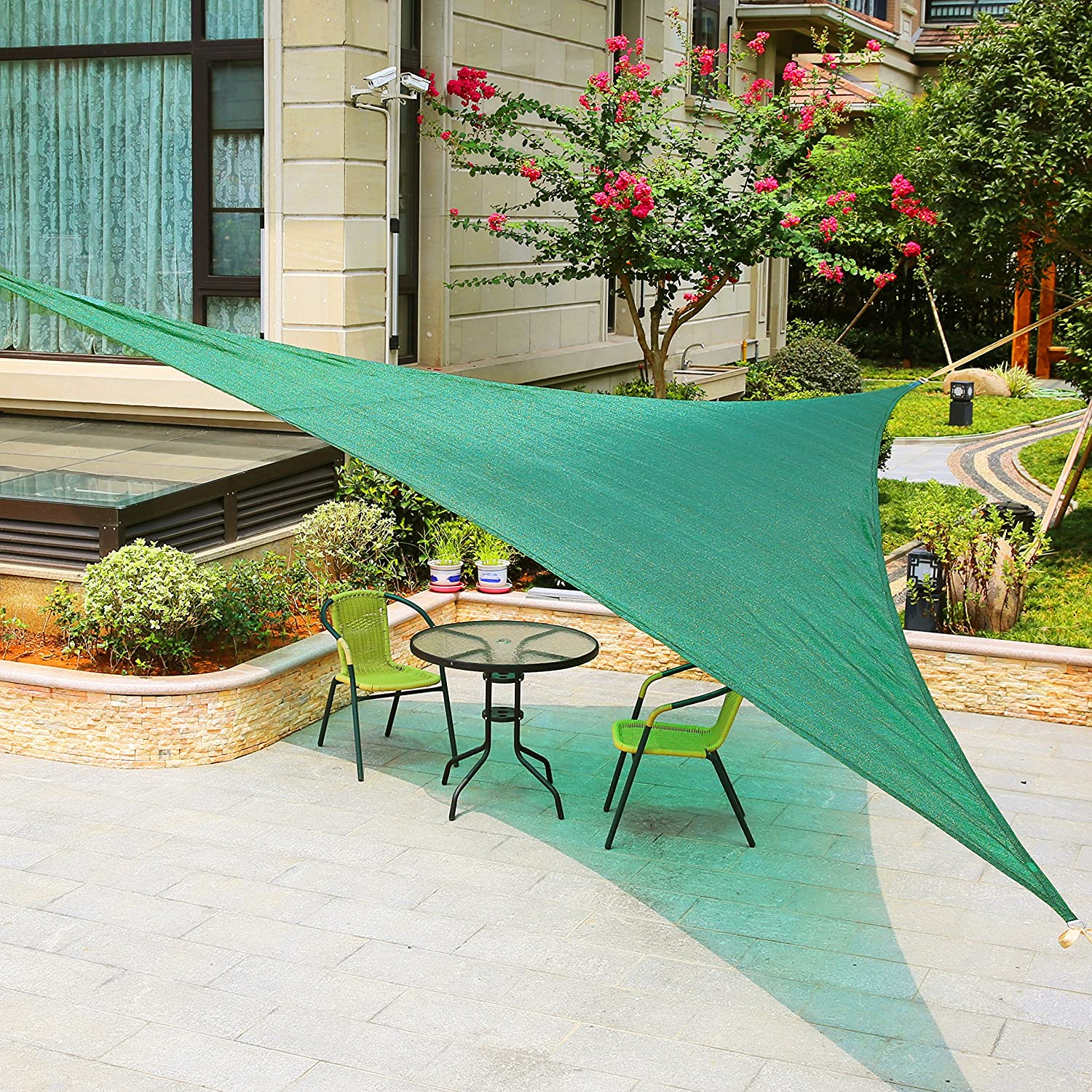 LyShade 12 x 12 x 17 Right Triangle Sun Shade Sail Canopy with Stainless Steel Hardware Kit Sand – UV Block for Patio and Outdoor