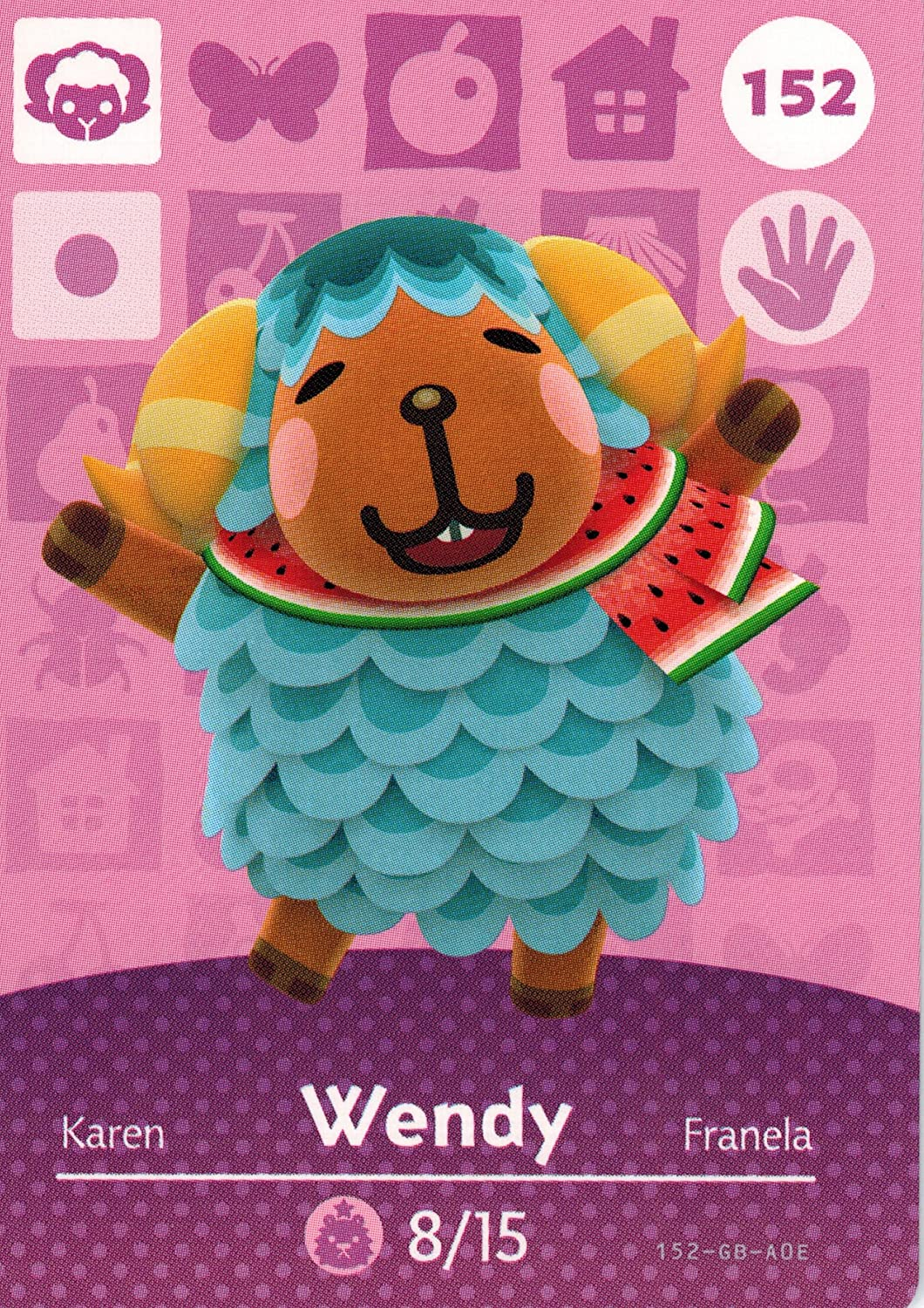 Nintendo Animal Crossing Happy Home Designer Amiibo Card Wendy 152/200 USA Version