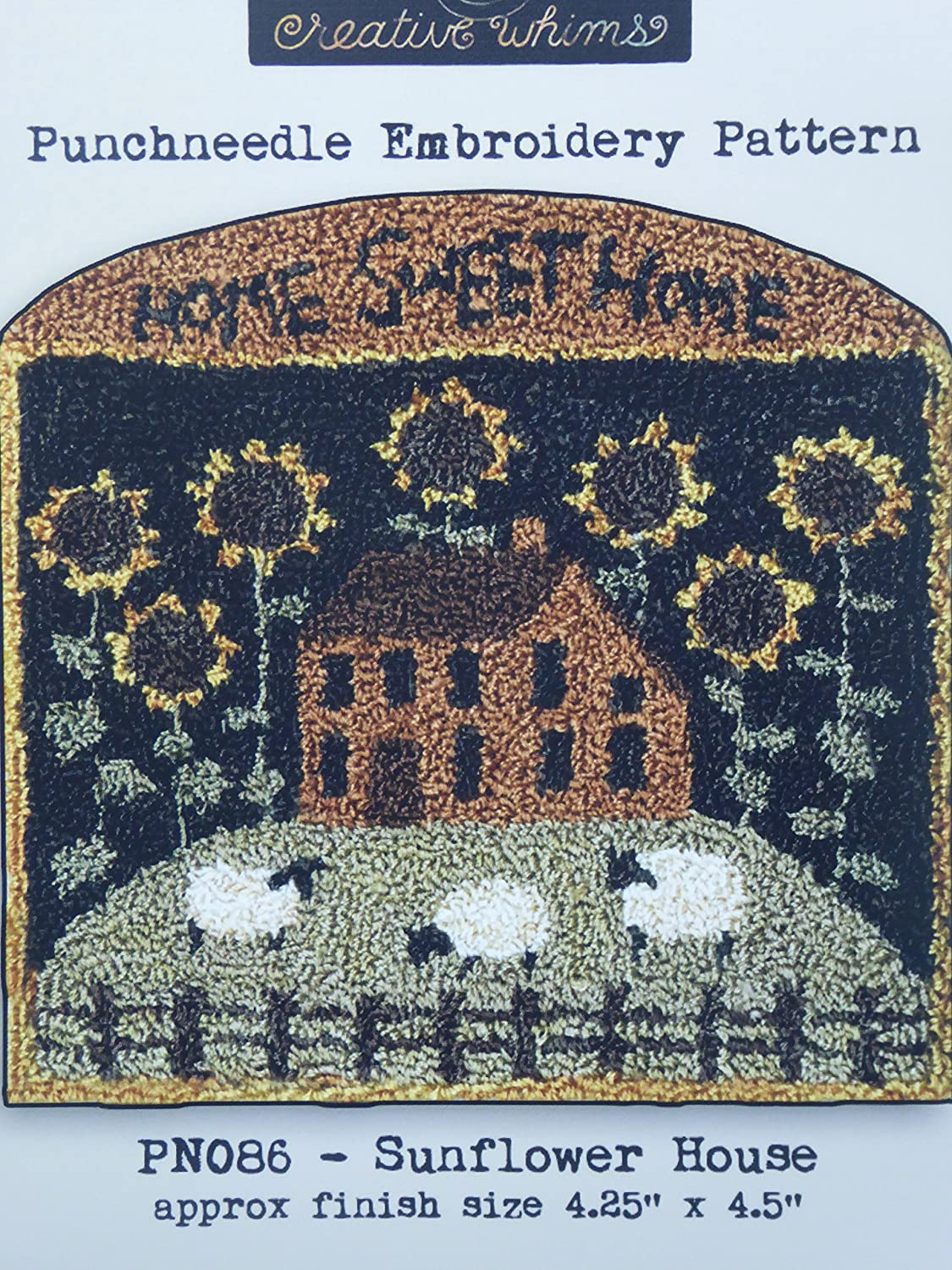 Sunflower House Home Sweet Home PN086 Punchneedle Punch Needle Embroidery Teresa Kogut Pattern