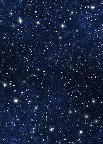 Star Sky Backdrop - Blue Night Sky Astronomy Galaxy Universe Student School  Shiny Star - Printed Fabric Photography Background (G1065, 5' Wide by 7'