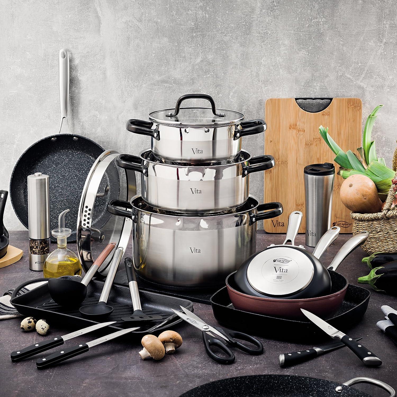 San Ignacio Vita: Set Cocina Sana: Incluye Sartenes: Wok Ø28 y asador 28x28 cm, Aluminio Forjado, aptas para inducción: Amazon.es: Hogar